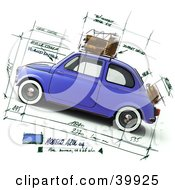 Clipart Illustration Of A Blue Compact Car On A Design Sketch Background by Frank Boston