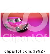 Clipart Illustration Of A Pink Compact Car On A Gradient And Shiny Background by Frank Boston