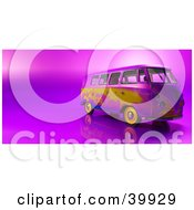 Clipart Illustration Of A Colorful 3d Hippy Van On A Shiny Purple And Pink Background