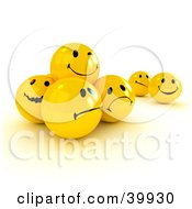 Clipart Illustration Of Moody 3d Smiley Frowny And Nervous Smiley Balls by Frank Boston #COLLC39930-0095