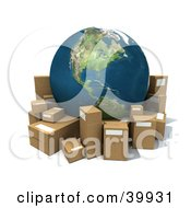 Clipart Illustration Of Earth Surrounded By Cardboard Boxes For Shipping by Frank Boston