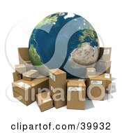 Clipart Illustration Of Earth Surrounded By Cardboard Parcels