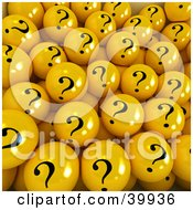 Clipart Illustration Of A Crowd Of 3d Yellow Question Mark Balls