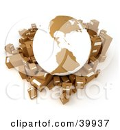 Clipart Illustration Of A White And Brown Globe Surrounded By Cardboard Parcels