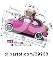 Pink Compact Car On A Design Sketch Background