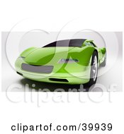 Clipart Illustration Of A Futuristic Green 3d Sports Car Seen From The Front by Frank Boston