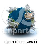 Clipart Illustration Of Skyscrapers Popping Out Of An Over Populated 3d Planet Earth