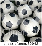 Clipart Illustration Of A Group Of Black And White Soccer Balls by Frank Boston
