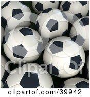 Group Of Black And White Soccer Balls