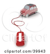 Clipart Illustration Of A Computer Mouse Attached To A Red Compact Car