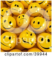 Clipart Illustration Of A Crowd Of Sad Nervous Flirty And Happy Yellow 3d Smiley Balls by Frank Boston #COLLC39944-0095