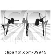 Clipart Illustration Of Three Sexy Black Silhouetted Female Pole Dancers On A SilverAnd White Stage In A Strip Club