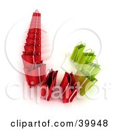 Clipart Illustration Of Green And Red 3d Shopping Bags Forming A Cane by Frank Boston