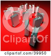 Clipart Illustration Of Scattered 3d White Shopping Bags On A Red Background With Shading by Frank Boston