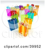 Clipart Illustration Of Scattered Colorful 3d Shopping Bags On A Background With Shading by Frank Boston