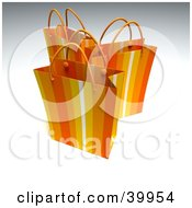 Clipart Illustration Of Three Orange 3d Shopping Bags by Frank Boston