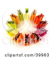 Clipart Illustration Of A Circle Of 3d Colorful Gift Bags by Frank Boston