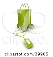 Clipart Illustration Of A Computer Mouse Connected To A Green Gift Bag On Wheels