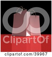 Clipart Illustration Of Two White 3d Gift Bags On A Black And Red Background by Frank Boston