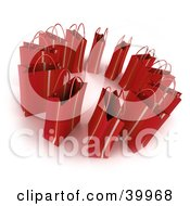 Clipart Illustration Of A Circle Of 3d Red Shopping Bags by Frank Boston