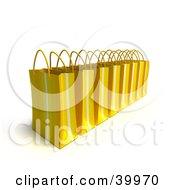 Clipart Illustration Of A Line Of Yellow 3d Shopping Bags by Frank Boston