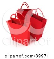 Clipart Illustration Of Three Red 3d Shopping Bags
