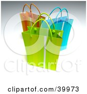 Clipart Illustration Of Three Green Blue And Red 3d Shopping Bags by Frank Boston