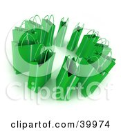 Clipart Illustration Of A Circle Of 3d Green Gift Bags by Frank Boston