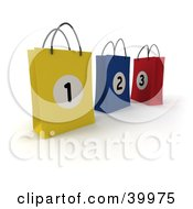 Clipart Illustration Of Three Numbered Yellow Blue And Red 3d Shopping Bags by Frank Boston