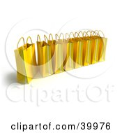 Clipart Illustration Of A Row Of Yellow 3d Gift Bags