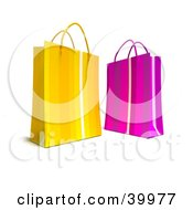 Clipart Illustration Of Two Yellow And Pink 3d Gift Bags