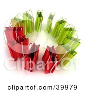 Clipart Illustration Of A Circle Of 3d Green And Red Shopping Bags