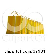 Clipart Illustration Of A Line Of Striped Yellow 3d Gift Bags