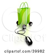 Clipart Illustration Of A Computer Mouse Connected To A Green Shopping Bag On Wheels
