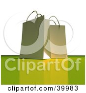 Clipart Illustration Of Two White 3d Gift Bags On A White And Green Background