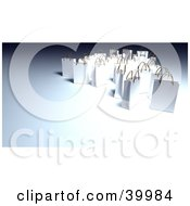 Clipart Illustration Of White 3d Gift Bags On A Gray Background
