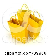 Clipart Illustration Of Three Yellow 3d Shopping Bags
