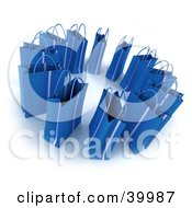 Clipart Illustration Of A Circle Of 3d Blue Gift Bags
