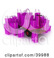 Purple 3d Shopping Bags On A Pallet Truck