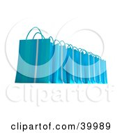 Clipart Illustration Of A Line Of Blue 3d Gift Bags