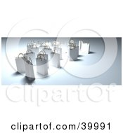 Clipart Illustration Of Glowing White 3d Shopping Bags On A Shady Background