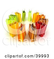 Clipart Illustration Of A Circle Of 3d Green Yellow Red And Orange Shopping Bags