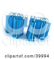 Clipart Illustration Of A Circle Of 3d Blue Shopping Bags