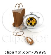 Clipart Illustration Of A Stop Watch Resting Against A Brown Shopping Bag With A Computer Mouse Attached To It