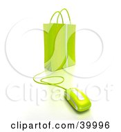 Clipart Illustration Of A Computer Mouse Connected To A Lime Green Gift Bag by Frank Boston