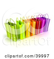 Clipart Illustration Of A Line Of Colorful 3d Gift Bags