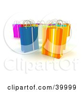 Clipart Illustration Of Upright Colorful 3d Shopping Bags On A Background With Shading
