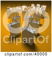 Clipart Illustration Of Scattered White 3d Shopping Bags On An Orange Background With Shading