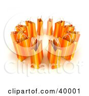 Clipart Illustration Of A Circle Of 3d Orange Shopping Bags