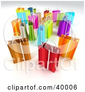 Clipart Illustration Of Scattered Colorful 3d Gift Bags On A Background With Shading